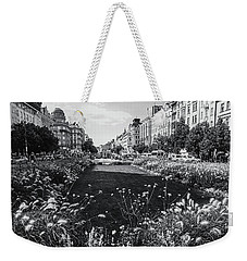 Weekender Tote Bag featuring the photograph Summer Prague. Black And White by Jenny Rainbow