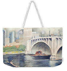Weekender Tote Bag featuring the painting Summer Rain by Marilyn Jacobson
