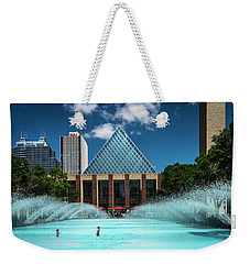 Weekender Tote Bag featuring the photograph Summer Splash Downtown Edmonton by Darcy Michaelchuk