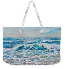 Weekender Tote Bag featuring the painting Summer Surf by Linda Olsen