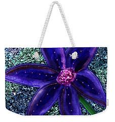 Weekender Tote Bag featuring the digital art Summer's Blue Flower by Iowan Stone-Flowers