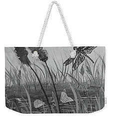 Weekender Tote Bag featuring the painting Summertime Dragonfly Black And White by Robin Maria Pedrero