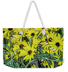 Weekender Tote Bag featuring the painting Summertime Faces by Ron Richard Baviello
