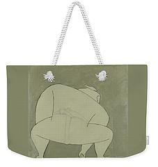 Weekender Tote Bag featuring the painting Sumo Wrestler by Ben Gertsberg