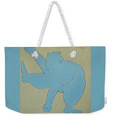 Weekender Tote Bag featuring the painting Sumo Wrestler In Blue by Ben Gertsberg