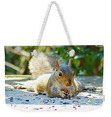 Sun Bathing Squirrel Weekender Tote Bag by Kathy Kelly