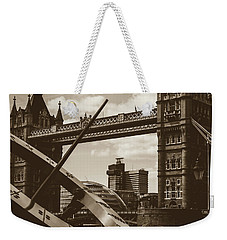 Weekender Tote Bag featuring the photograph Sun Clock With Bridge Tower London In Sepia Tone by Jacek Wojnarowski