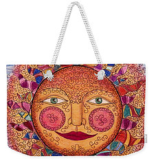 Weekender Tote Bag featuring the drawing Sun Dancing by Megan Walsh
