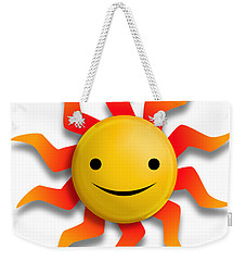 Weekender Tote Bag featuring the digital art Sun Face No Background by John Wills