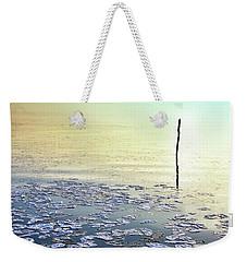 Sun Going Down In Calm Frozen Lake Weekender Tote Bag