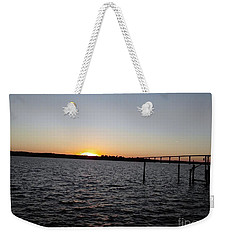 Sun Going Down Near Gov Thomas Johnson Bridge Weekender Tote Bag