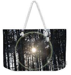 Sun Or Lens Flare In Between The Woods -georgia Weekender Tote Bag