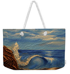 Weekender Tote Bag featuring the mixed media Sun Over The Ocean by Angela Stout