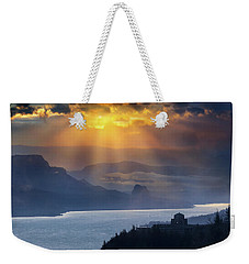 Sun Rays Over Columbia River Gorge During Sunrise Weekender Tote Bag
