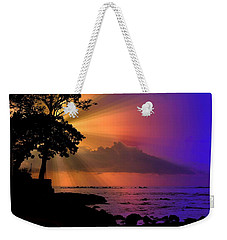 Weekender Tote Bag featuring the photograph Sun Rays Sunset by Lori Seaman
