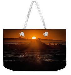 Sun Setting Behind Santa Cruz Island Weekender Tote Bag by John A Rodriguez