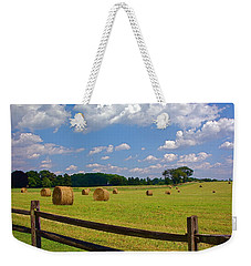 Weekender Tote Bag featuring the photograph Sun Shone Hay Made by Byron Varvarigos