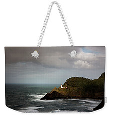 Weekender Tote Bag featuring the photograph Sunbeam On The Lighthouse by Mary Jo Allen