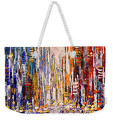 Weekender Tote Bag featuring the painting Sunbeams And Glitter by Tatiana Iliina