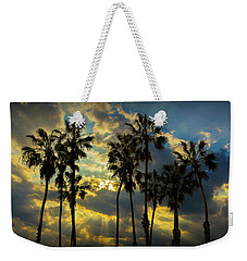 Weekender Tote Bag featuring the photograph Sunbeams And Palm Trees By Cabrillo Beach by Randall Nyhof