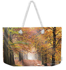 Sunbeams In A Forest In Autumn Weekender Tote Bag by IPics Photography