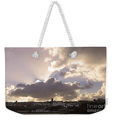 Weekender Tote Bag featuring the photograph Sunbeams Over Church In Color by Nicholas Burningham
