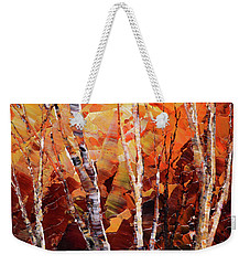 Weekender Tote Bag featuring the painting Sunburnt Solstice by Tatiana Iliina