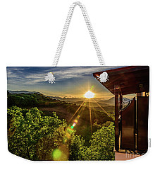 Sunburst View From Dellas Boutique Hotel Near Meteora In Kastraki, Kalambaka, Greece Weekender Tote Bag