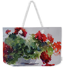 Sunday Morning Geraniums Weekender Tote Bag by Sandra Strohschein