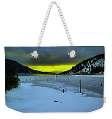 Weekender Tote Bag featuring the photograph Sundown On Lake Shore by Jeff Swan