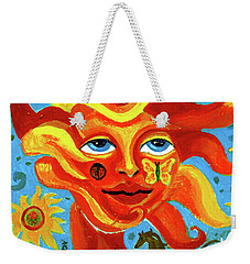 Weekender Tote Bag featuring the painting Sunface With Butterfly And Horse by Genevieve Esson