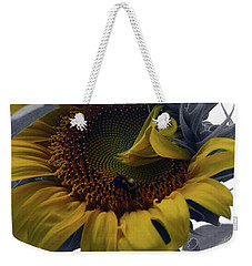 Weekender Tote Bag featuring the photograph Sunflower Bee by Richard Ricci