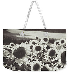 Weekender Tote Bag featuring the photograph Sunflower Black And White 1 by Andrea Anderegg
