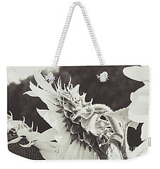 Weekender Tote Bag featuring the photograph Sunflower Black And White by Andrea Anderegg