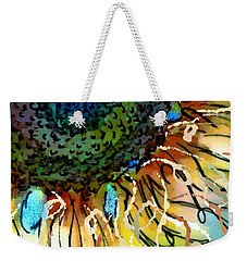 Weekender Tote Bag featuring the painting Sunflower Blues by Barbara Chichester