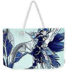 Sunflower - Denim Blues And White Weekender Tote Bag