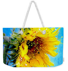 Weekender Tote Bag featuring the painting Sunflower Essence by Barbara Chichester