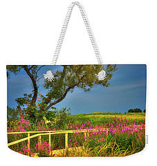 Weekender Tote Bag featuring the photograph Sunflower Field - Colby Farm by Joann Vitali