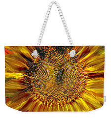 Weekender Tote Bag featuring the photograph Sunflower Fiesta by Barbara Chichester