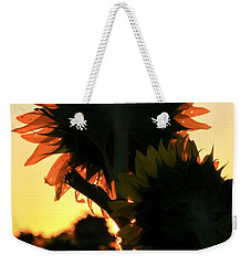 Weekender Tote Bag featuring the photograph Sunflower Greeting  by Chris Berry