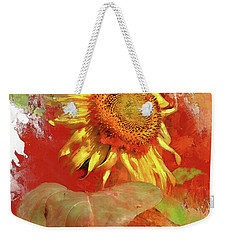 Sunflower In Red Weekender Tote Bag