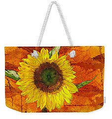 Weekender Tote Bag featuring the photograph Sunflower Leaf Impressions by Barbara Chichester