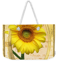 Sunflower On Vintage Postcard Weekender Tote Bag by Nina Silver