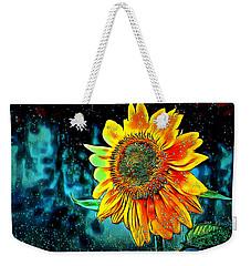 Weekender Tote Bag featuring the digital art Sunflower Rain by Pennie McCracken