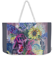 Weekender Tote Bag featuring the painting Sunflower Still Life by Judy Via-Wolff