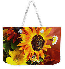 Weekender Tote Bag featuring the photograph Sunflower Strong by Kathy Bassett