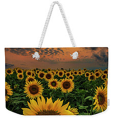 Weekender Tote Bag featuring the photograph Sunflower Sunset  by Aaron J Groen