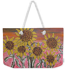 Weekender Tote Bag featuring the painting Sunflower Sunset by Sharyn Winters