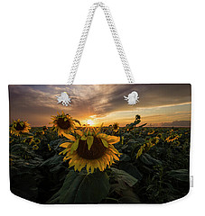 Weekender Tote Bag featuring the photograph Sunflower Sunstar  by Aaron J Groen