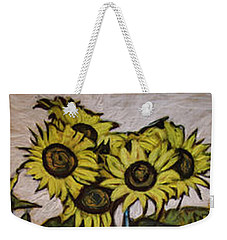 Weekender Tote Bag featuring the painting Sunflower Tower by Ron Richard Baviello